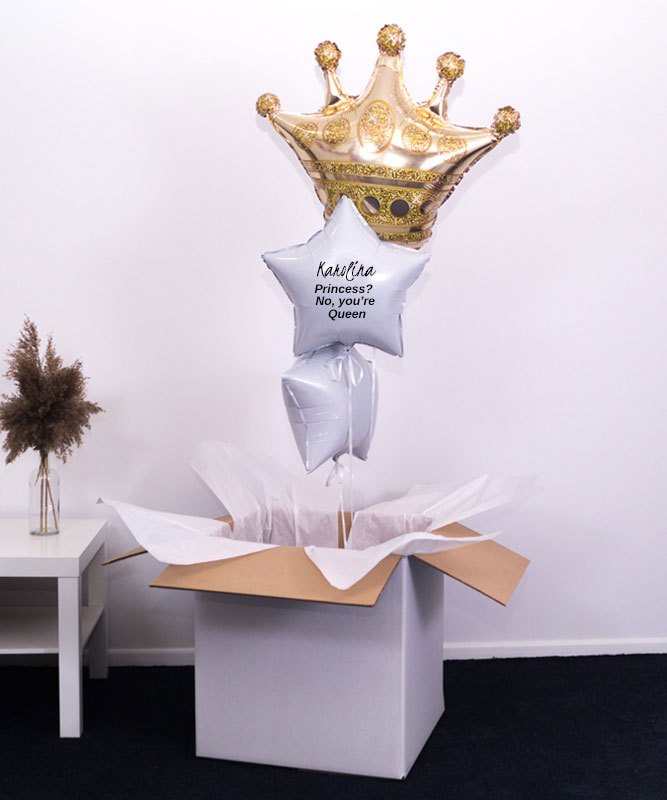 Trzy balony z helem w pudełku na prezent – Queen
