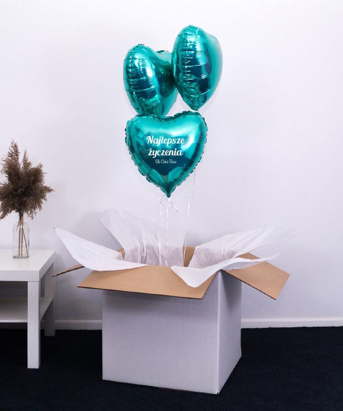 Trzy balony z helem w pudełku na prezent – Najlepsze Życzenia