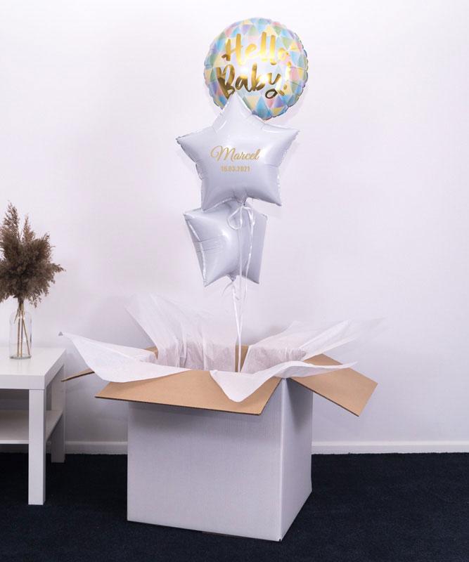 Trzy balony z helem na narodziny dziecka – Hello Baby