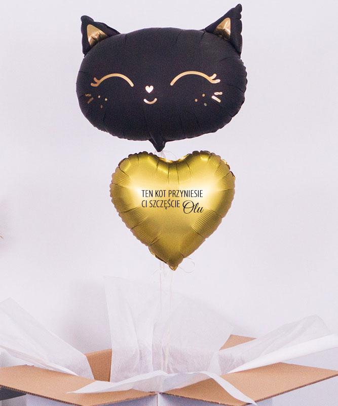 Balony z helem w pudełku – prezent na szczęście – Czarny Kot