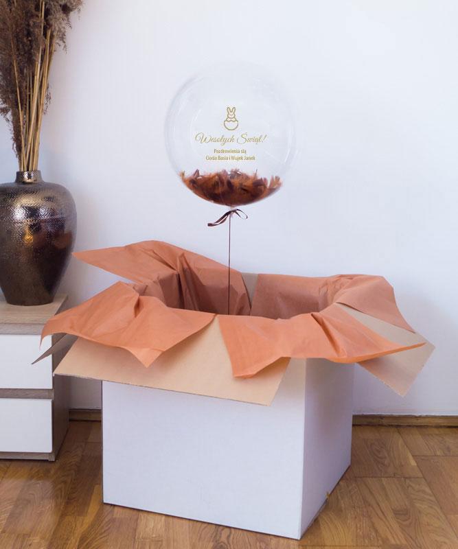 Balon kula z helem w pudełku – Wielkanocne pozdrowienia