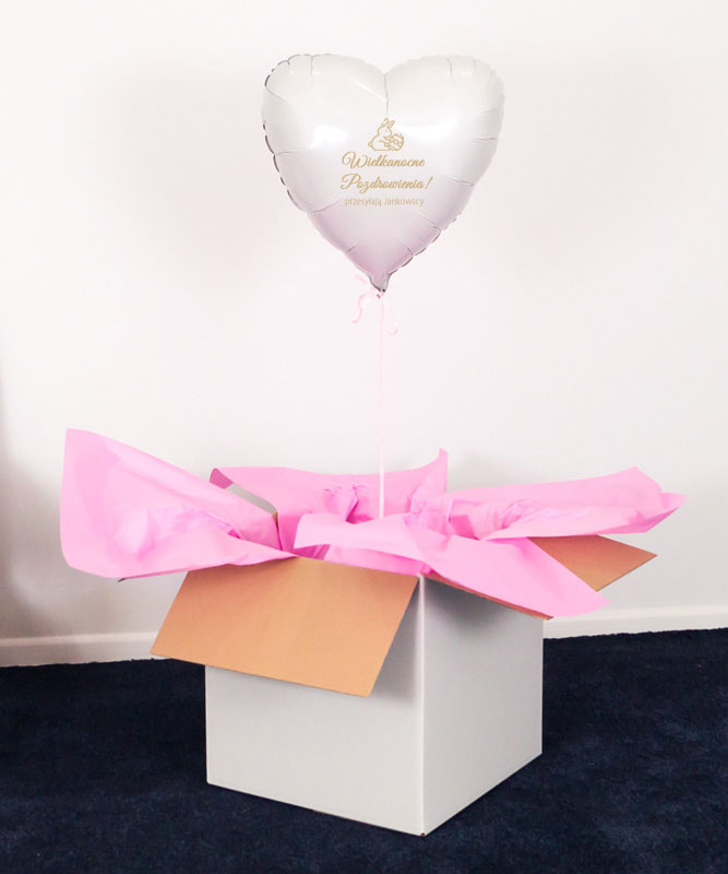 Balon białe serce z helem w pudełku – Wielkanocne pozdrowienia