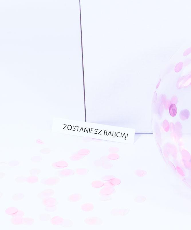 Zostaniesz Babcią – balon z wiadomością w środku