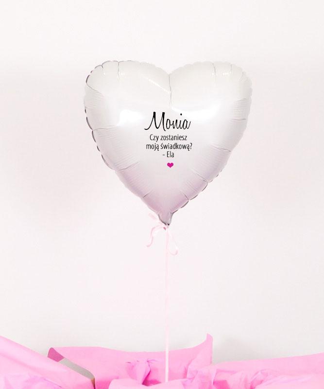Balon serce z helem w prezentowym pudełku – Prośba o bycie świadkową