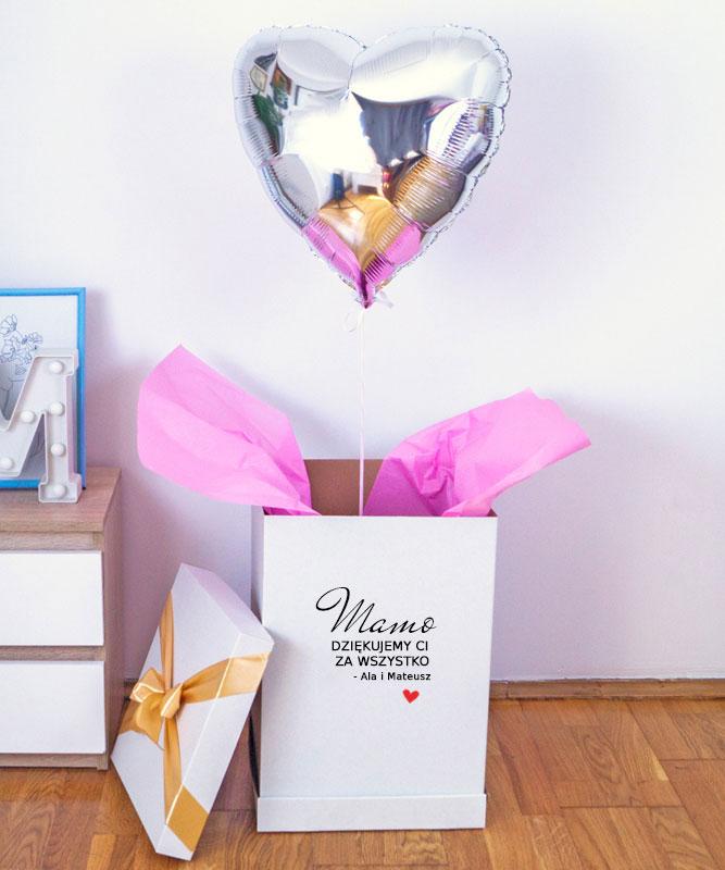 Balon serce z helem w eleganckim pudełku – Dziękujemy za wszystko