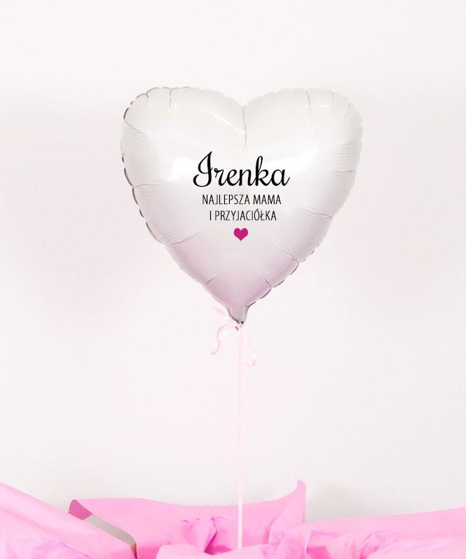 Balon białe serce z helem w pudełku – Najlepsza Mama i Przyjaciółka