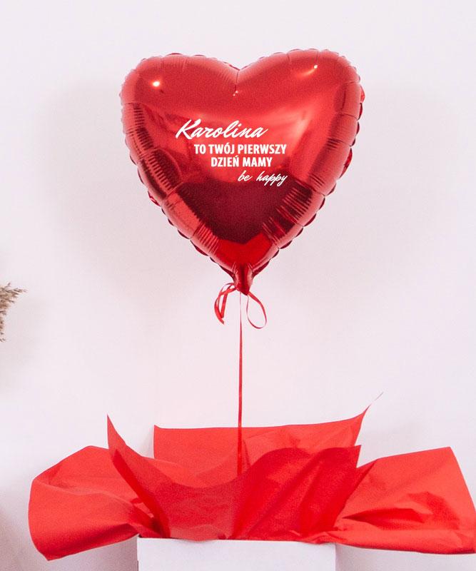 Balon czerwone serce z helem – prezent na pierwszy dzień Mamy