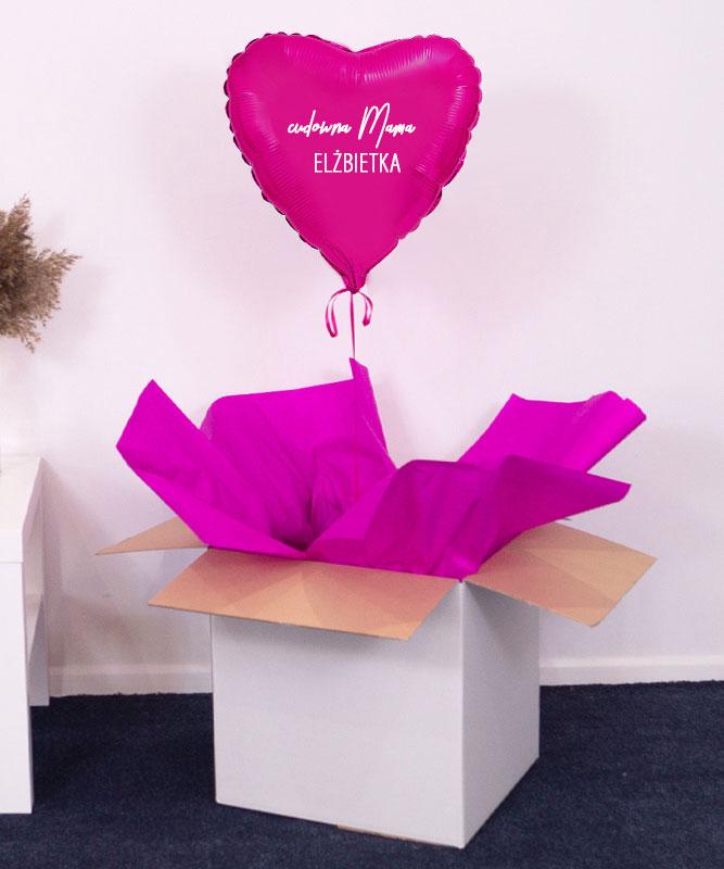 Różowe serce w pudełku – balon z helem dla Mamy