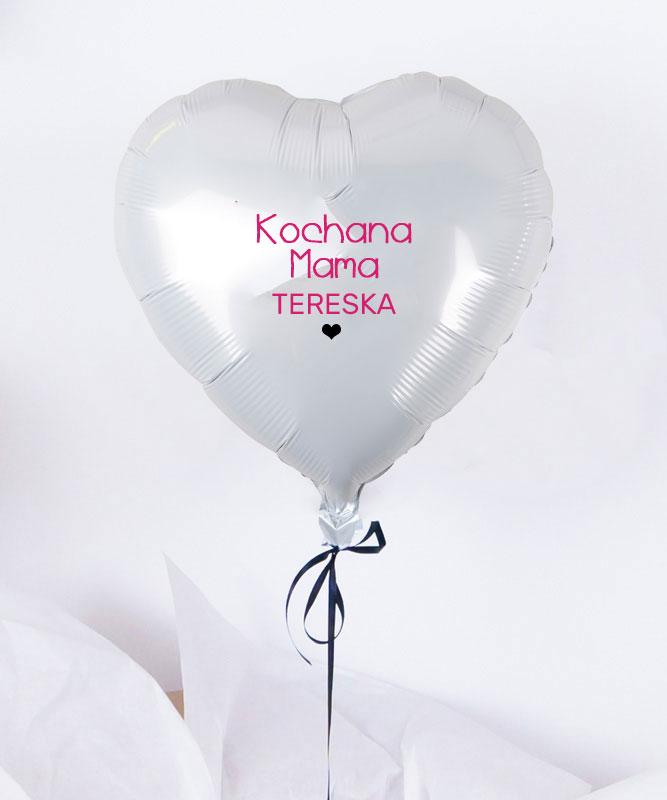 Balon białe serduszko z helem w pudełku – Kochana Mama