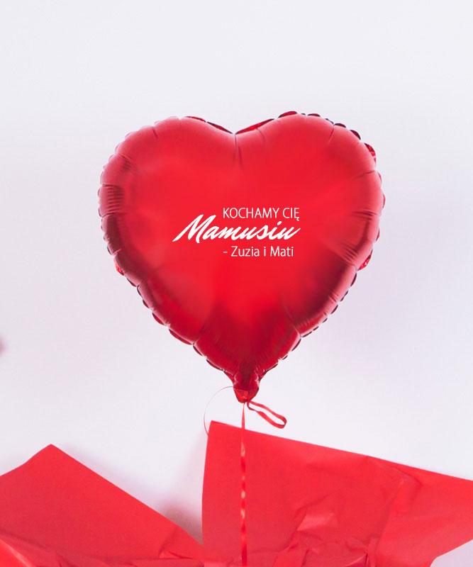 Balon czerwone serce z helem dla Mamy – Kochamy Cię