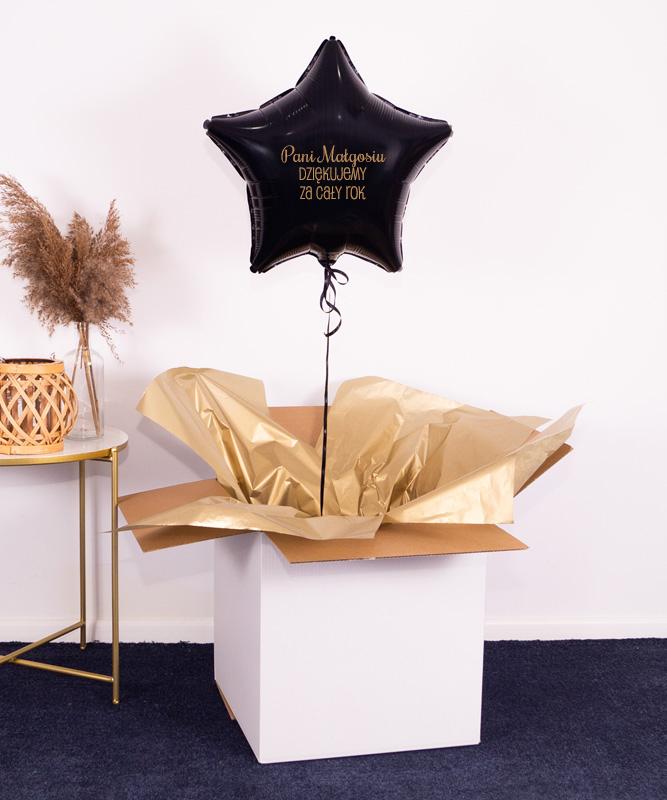 Balon czarna w gwiazdka z napisem dla Nauczyciela