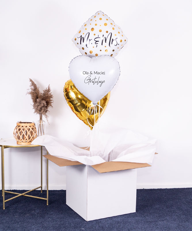 Balony z helem w pudeÅ'ku dla pary – Mr & Mrs