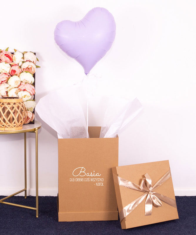 Balon liliowe serce z helem – Pastelowe Love