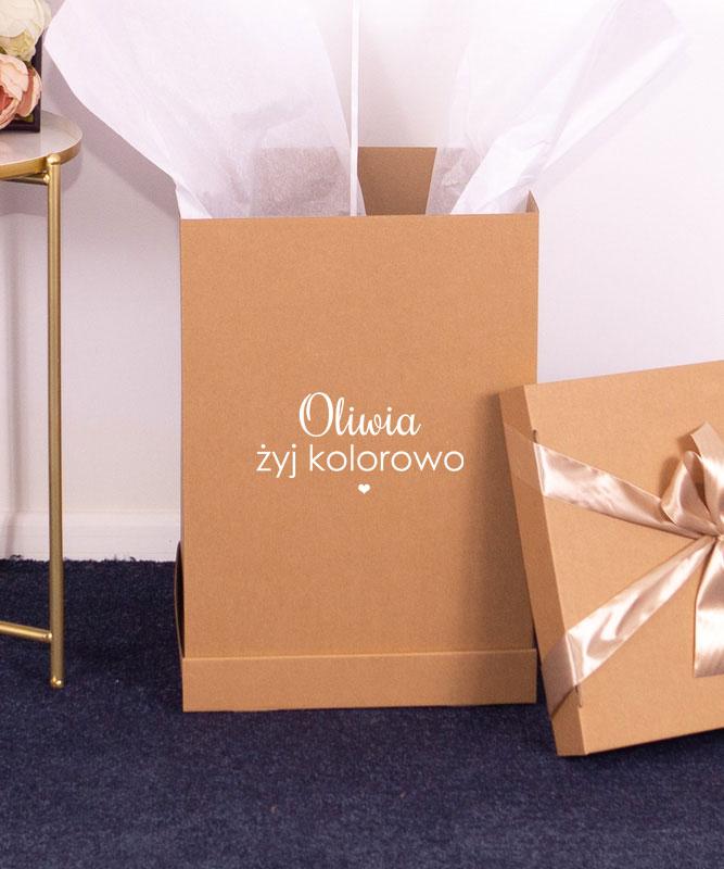 Balon pistacjowe serce z helem w pudełku – Żyj kolorowo + imię