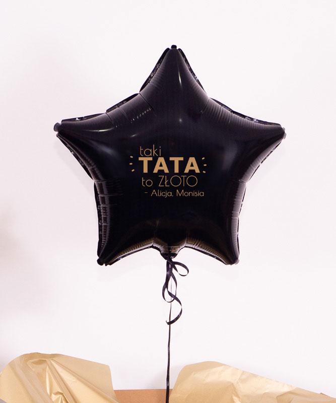 Balonik z helem gwiazdka dla Taty – Jesteś złotem