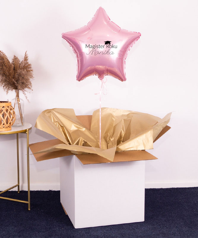 Balon różowa gwiazdka z helem w pudelku – Prezent dla magistra