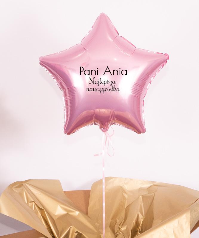 Prezent dla nauczyciela – balon różowa gwiazdka z helem