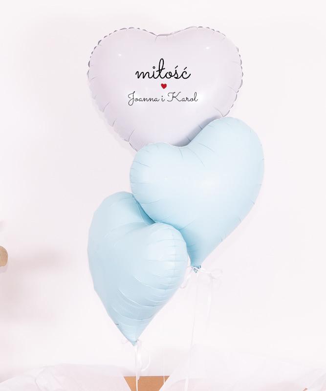 Pastelowe balony serca z helem dla pary – MiÅ'ość
