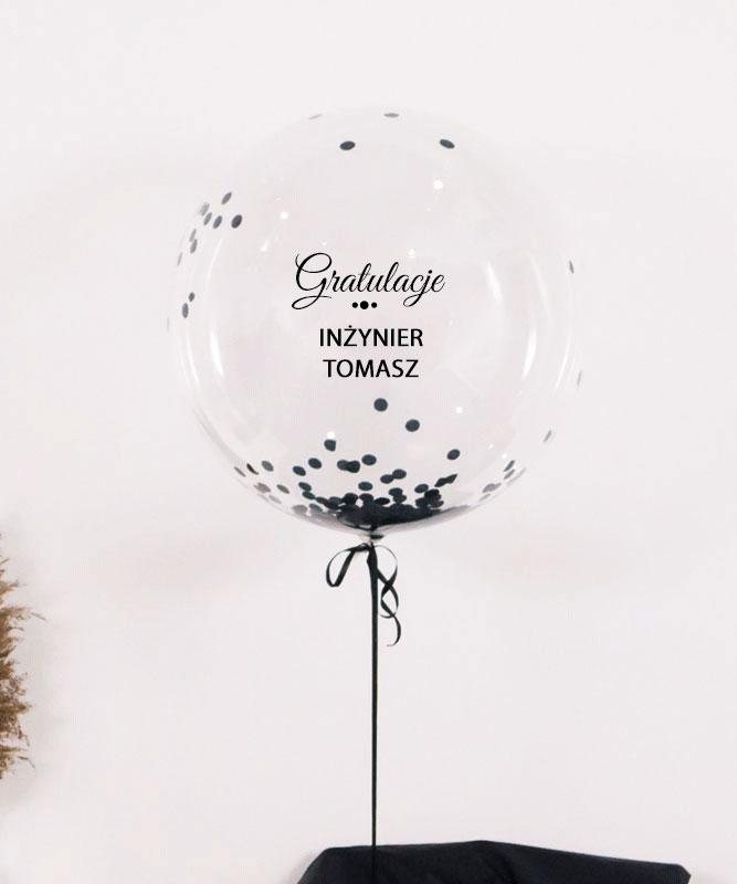 Balon kula z helem i konfetti w pudełku- prezent dla Inżyniera