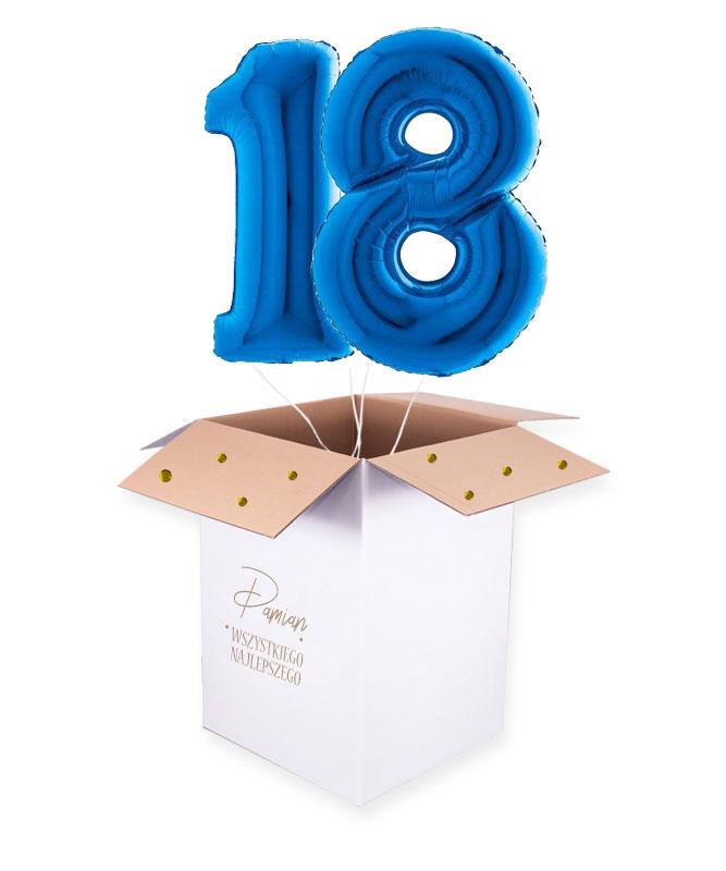 Liczba 18 granatowa – balony z helem w pudełku na prezent