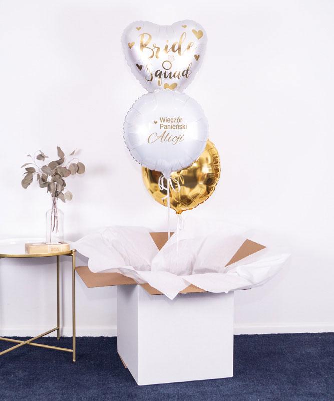 Balony z helem w pudełku na wieczór Panieński