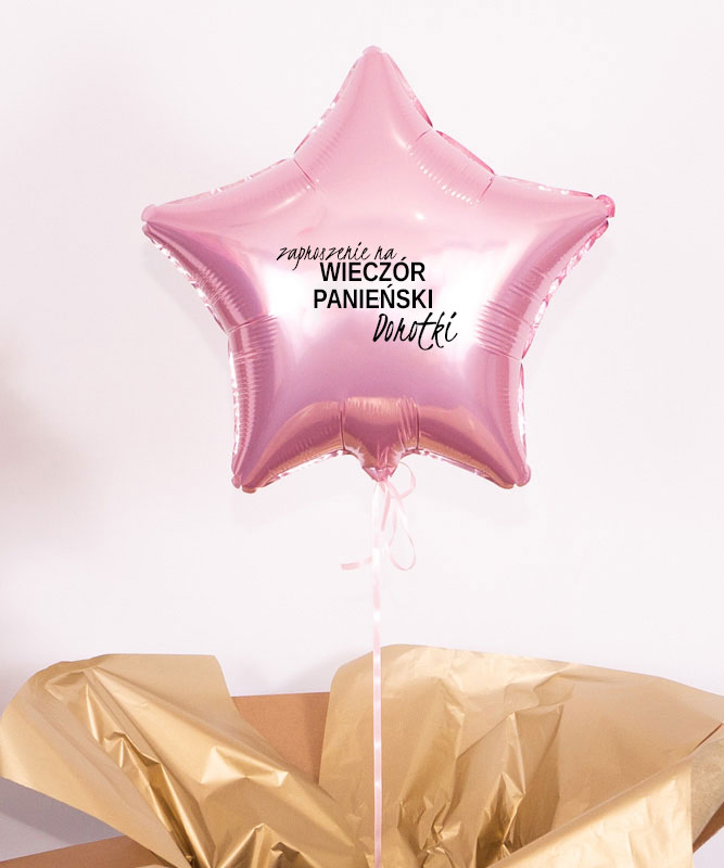 Balon różowa gwiazdka z helem – Zaproszenie na Panieński