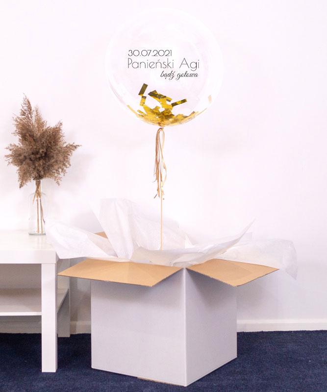 Balon kula z helem i konfetti – Zaproszenie na wieczór Panieński
