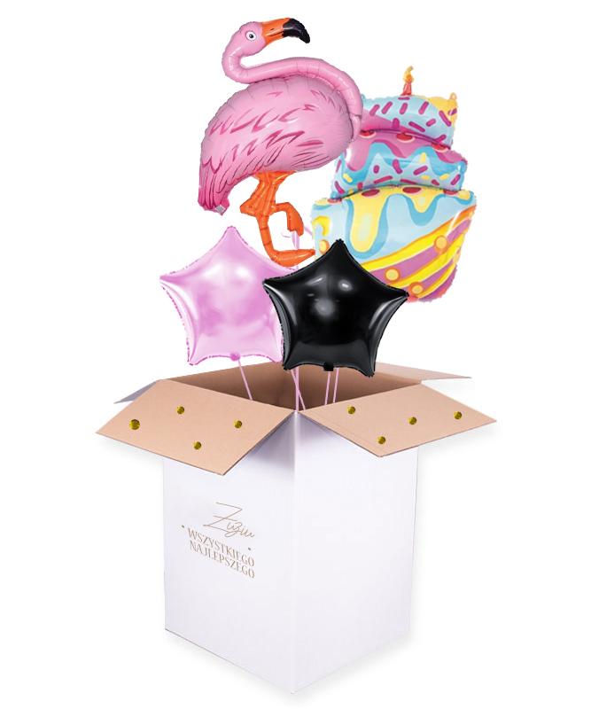 Bukiet balon贸w z helem w pude艂ku – Flaming Birthday