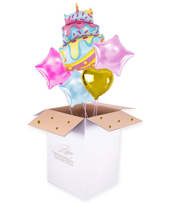 Balony z helem w pude艂ku na urodziny – Tort