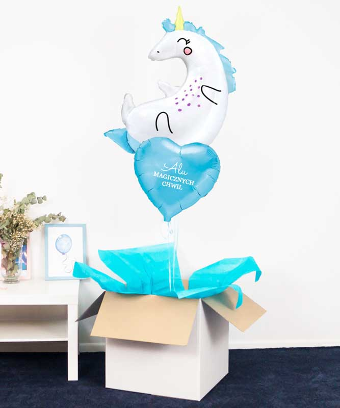 Zestaw prezentowy dla dziecka – balony z helem JEDNOROŻEC