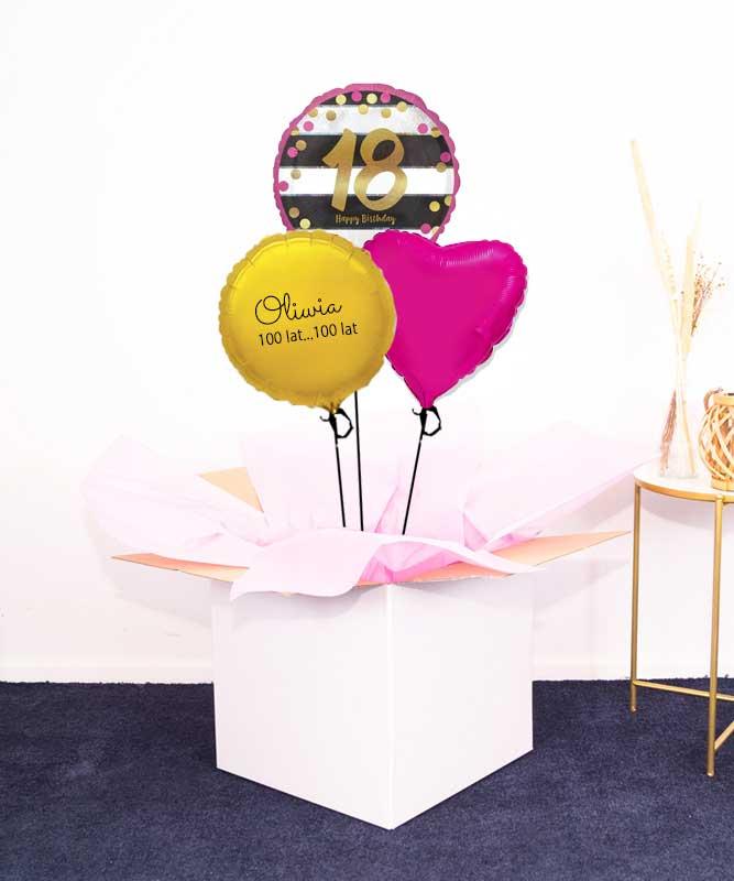 Prezent na 18 urodziny – balony z helem w pudełku