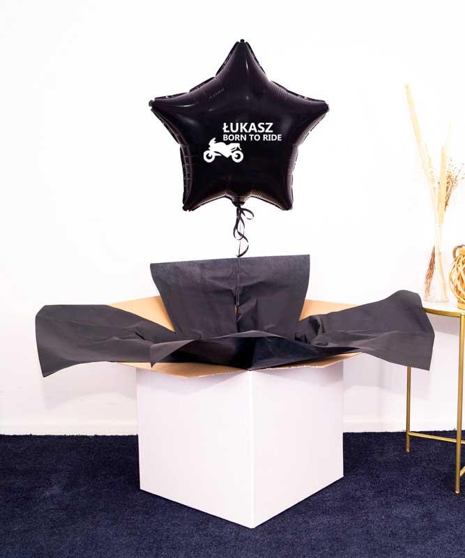 Prezent dla motocyklisty – balon gwiazdka z imieniem w pudełku