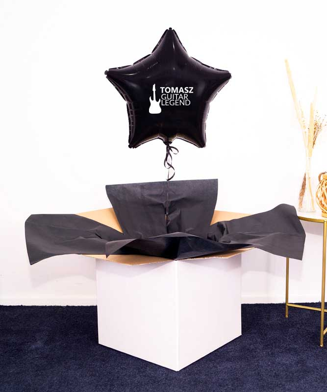 Prezent dla muzyka – balon z helem w pudełku