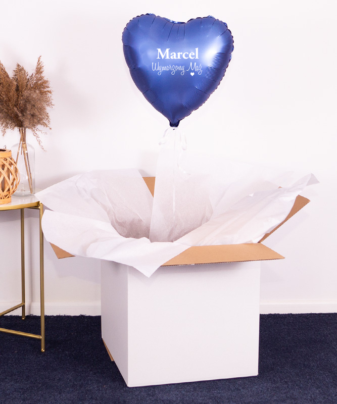 Prezent dla męża – Balon serce granatowe z helem w pudełku