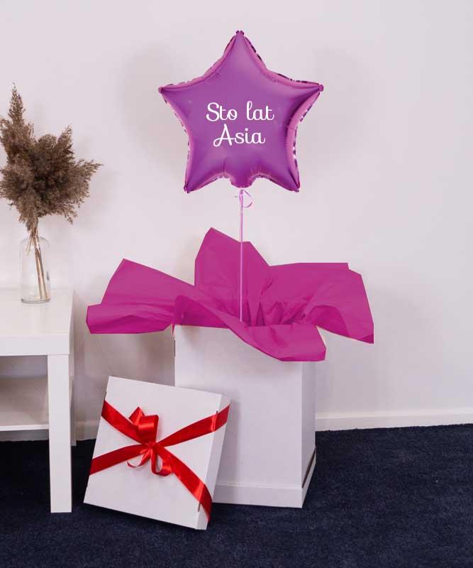 Balon różowa gwiazdka z helem w pudełku – Prezent urodzinowy
