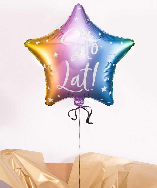 Balon sto lat z helem w pudełku – urodzinowy prezent