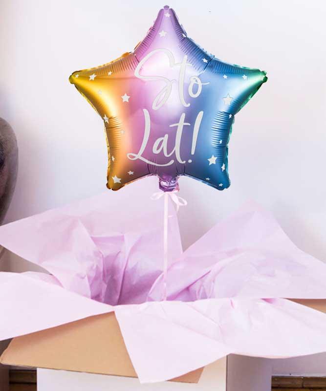 Balon pastelowa gwiazdka w pudełku na urodziny