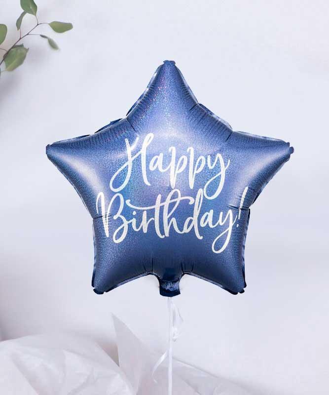 Balon granatowa gwiazdka Happy Birthday – prezent na urodziny